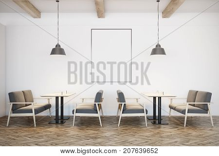 White Cafe Interior, Gray Sofas, Poster