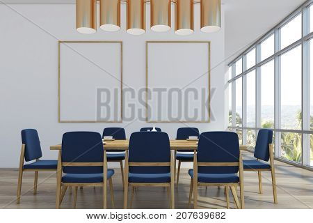 Dining Room With Two Posters, Palms