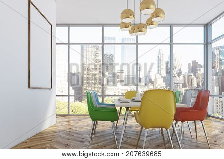 Dining Room With Colorful Chairs, Side