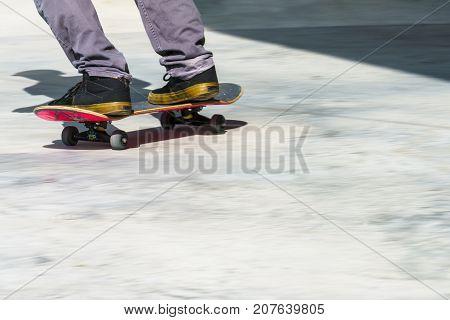 Dordrecht Netherlands - 3 September 2016: Skateboarder rolling past at the official opening of the new skateboard park in Dordrecht.