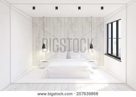 Front view of a modern bedroom interior with white and woden walls a concrete and wooden floor and two bedside tables near a double bed. 3d rendering mock up