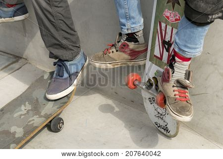 Dordrecht Netherlands - 3 September 2016: Skateboarders hang out on the wall at the official opening of the new skateboard park in Dordrecht.