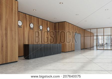 Black Reception Desk, Wooden Office, Side View