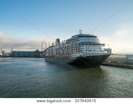 HELSINKI, FINLAND - SEPTEMBER 11:  Holland America Line cruise ship on September 11, 2017 in Helsinki, Finland. The Koningsdam was built in May 2016.