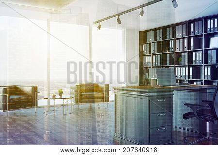 Ceo Office Interior, Bookcase, Armchairs Toned