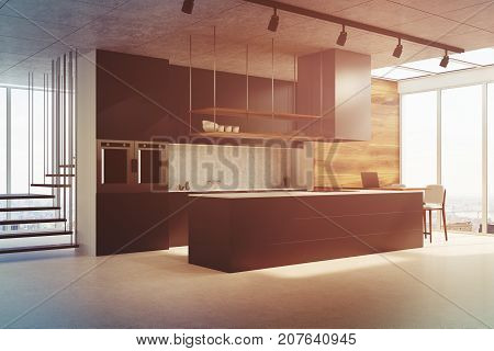 Black Kitchen Counter, Side View Toned