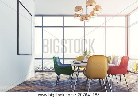 Dining Room With Colorful Chairs, Side Toned