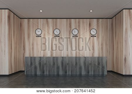 Black Reception Desk, Light Wooden Office
