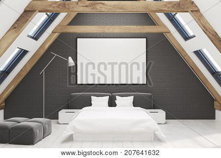 Black Attic Bedroom Interior