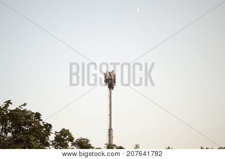 Telecommunication equipments on the pole and tower