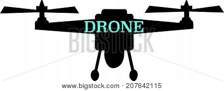 Drone word text Illustration. Flying craft concept isolated flat vector. Transparent.