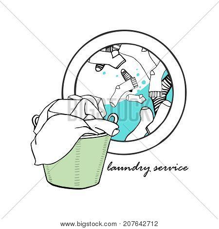 Laundry basket and a washing machine with water and socks. Symbols of laundry. Hand drawn vector Illustration.