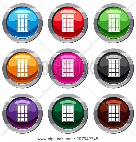 White arched window set icon isolated on white. 9 icon collection vector illustration
