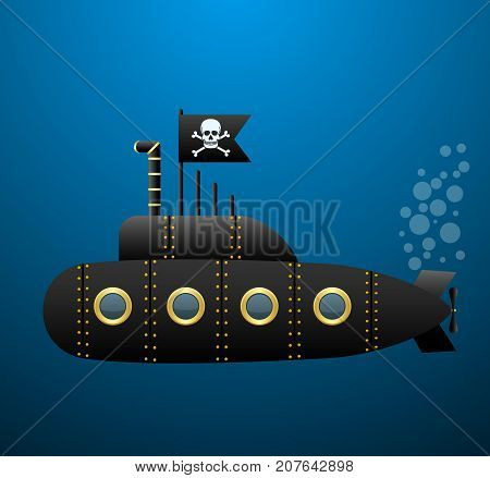 Black pirate submarine under water . Jolly Roger flag. Cartoon style. Vector illustration