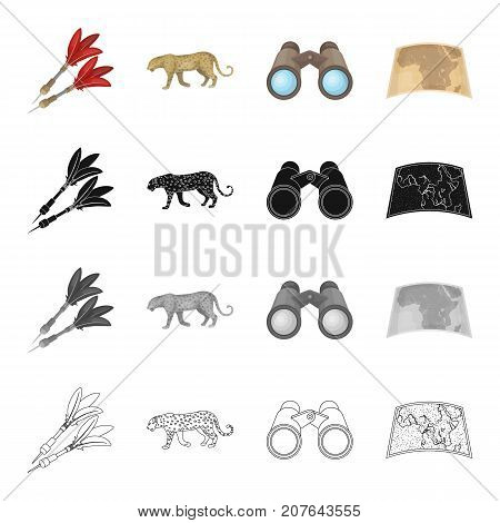 Hunting, safari, Africa, and other  icon in cartoon style. Leopard, animal, beast icons in set collection