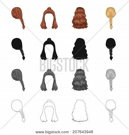 Hair, long, chignon, and other  icon in cartoon style. Barbershop, coiffure, locks icons in set collection