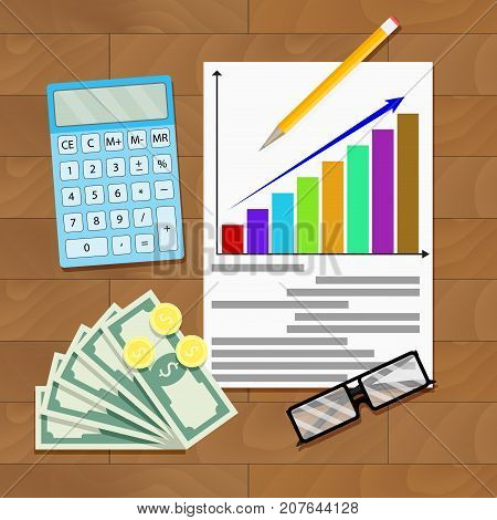 Wage increase overhead view. Salary statistics chart. Vector salary increase color diagram growth minimum wage compensation and payment income illustration