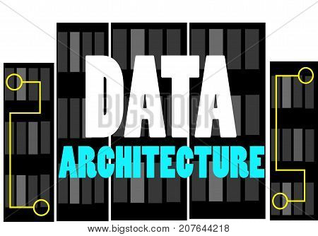 Data Architecture word text logo Illustration. Data server racks concept isolated flat vector. Transparent.