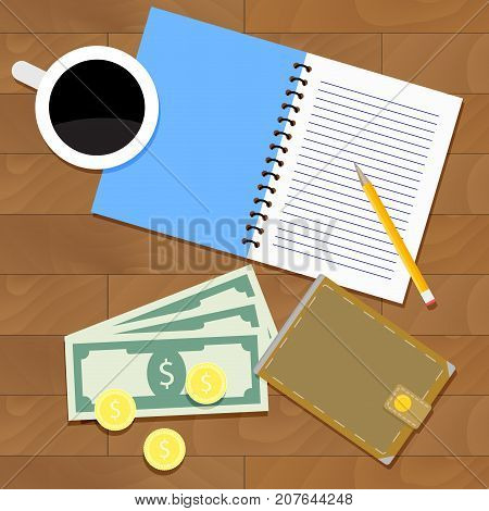 Salary mouth planning concept. Financial plan vector salary or wage illustration. Salary survey overhead poster