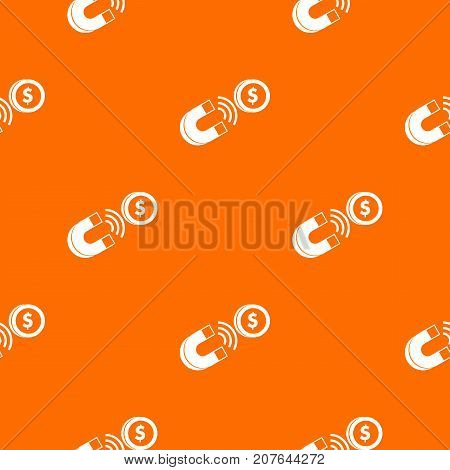 Magnet with coin pattern repeat seamless in orange color for any design. Vector geometric illustration