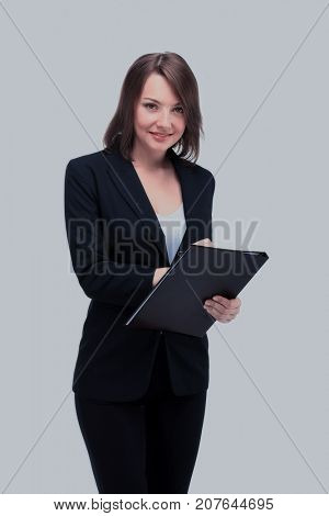 Full-length portrait of businesswoman keeping folder, isolated o