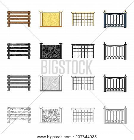 Fence, post, pillar, and other  icon in cartoon style.Stone, granite, palisade icons in set collection