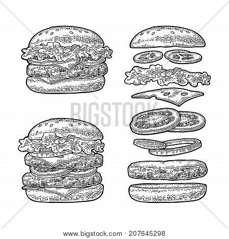 Double and classic burger with flying ingredients include bun, tomato, salad, cheese, onion, cucumber. Vector black vintage engraving Illustration isolated on white background. For vertical poster, menu, banner