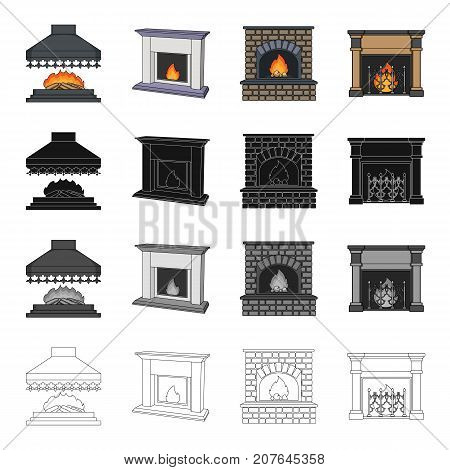 Fireplace, fire, warmth and comfort. Different kinds of fireplace set collection icons in cartoon black monochrome outline style vector symbol stock Isometric illustration .