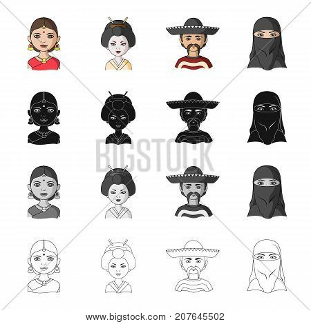 Different race of Indian, Japanese, Mexican, Asian. The human race set collection icons in cartoon black monochrome outline style vector symbol stock illustration .