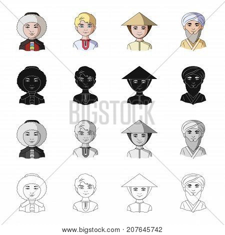 Different race of Eskimos, Russian, Chinese, Central Asia . The human race set collection icons in cartoon black monochrome outline style vector symbol stock illustration .