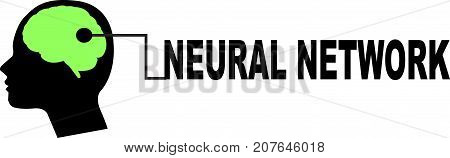 Neural Network word text logo Illustration. Human brain concept isolated flat vector. Transparent.