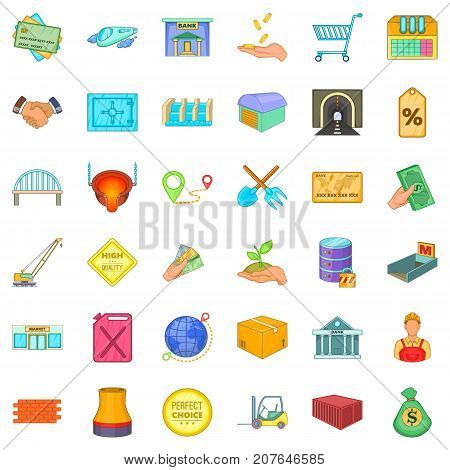 Economics icons set. Cartoon style of 36 economics vector icons for web isolated on white background