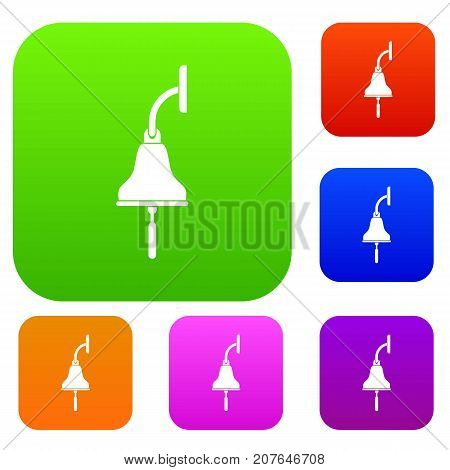 Ship bell set icon color in flat style isolated on white. Collection sings vector illustration