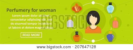 Perfumery for woman banner horizontal concept. Flat illustration of perfumery for woman banner horizontal vector concept for web design