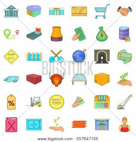 Economy icons set. Cartoon style of 36 economy vector icons for web isolated on white background