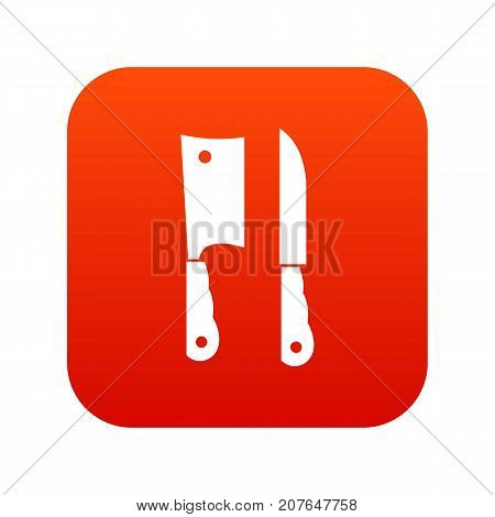 Kitchen knife and meat knife icon digital red for any design isolated on white vector illustration