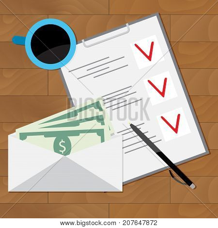 Wage Planning To Spend. Banknote and checklist plan salary. Vector illustration