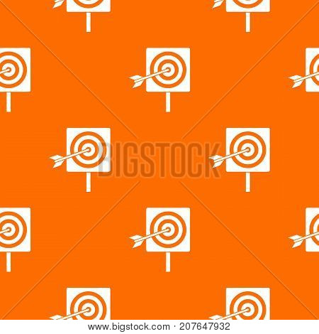 Darts pattern repeat seamless in orange color for any design. Vector geometric illustration