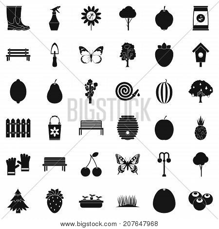 Cultivated icons set. Simple style of 36 cultivated vector icons for web isolated on white background
