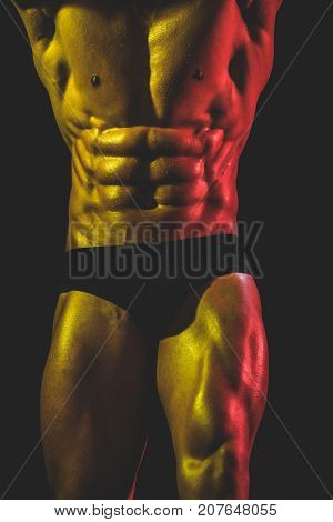 Athlete In Black Underpants, Warm Light. Passionate Sensual Body Of Young Man. Male Body Close Up. M