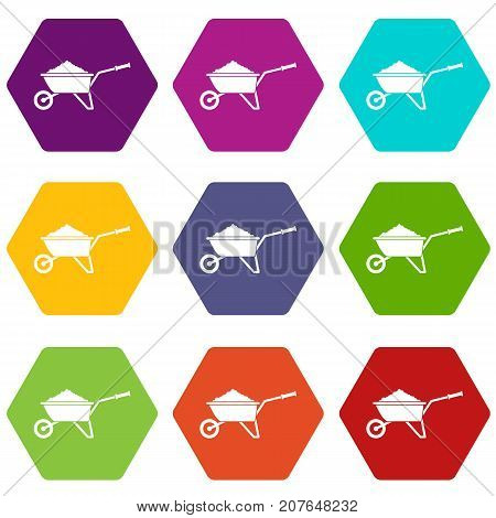 poster of Wheelbarrow loaded with soil icon set many color hexahedron isolated on white vector illustration