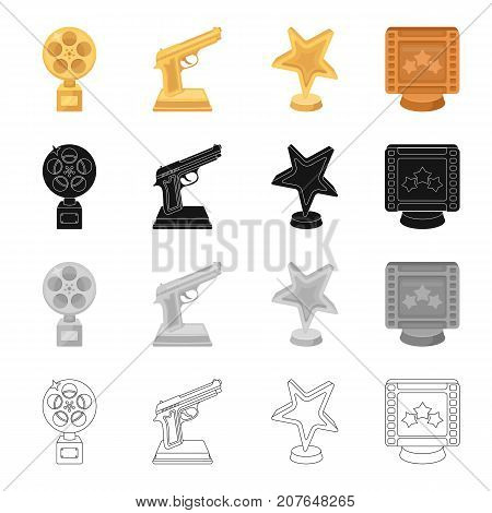 Award gold star, gold pistol, film. Different Kinds of Movie Awards set collection icons in cartoon black monochrome outline style vector symbol stock isometric illustration .