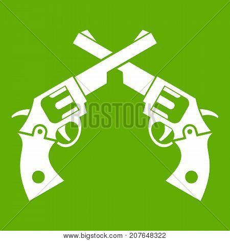 Revolvers icon white isolated on green background. Vector illustration