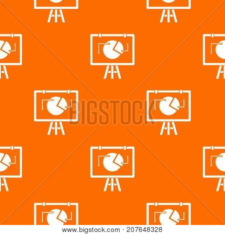 Flip chart with statistics pattern repeat seamless in orange color for any design. Vector geometric illustration