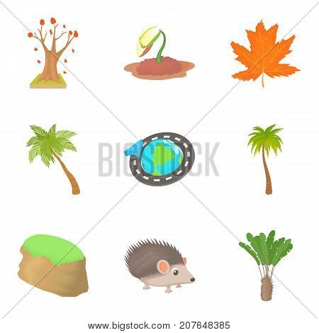 Walking in autumn forest icons set. Cartoon set of 9 walking in autumn forest vector icons for web isolated on white background
