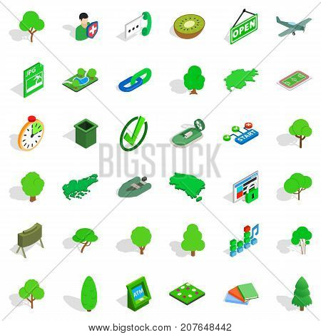 Grass icons set. Isometric style of 36 grass vector icons for web isolated on white background