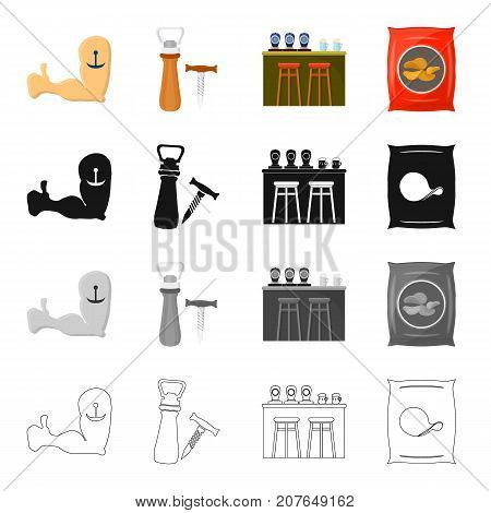 A hand with a tattoo, an opener and a corkscrew, a bar counter in the pub, a bag of chips. Pub and party set collection icons in cartoon black monochrome outline style vector symbol stock illustration .