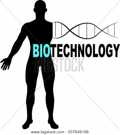 Biotechnology Word logo conceptual Illustration. Biotechnology text isolated flat vector. Transparent.
