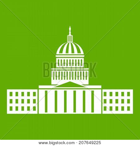 Capitol icon white isolated on green background. Vector illustration