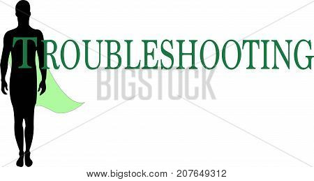 Troubleshooting Word logo conceptual Illustration. Troubleshooting at hand text isolated flat vector. Transparent.